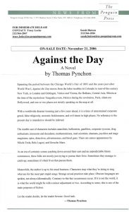Thomas Pynchon - Against the Day - Release