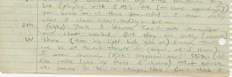 Pynchon handwritten notes for Minstrel Island