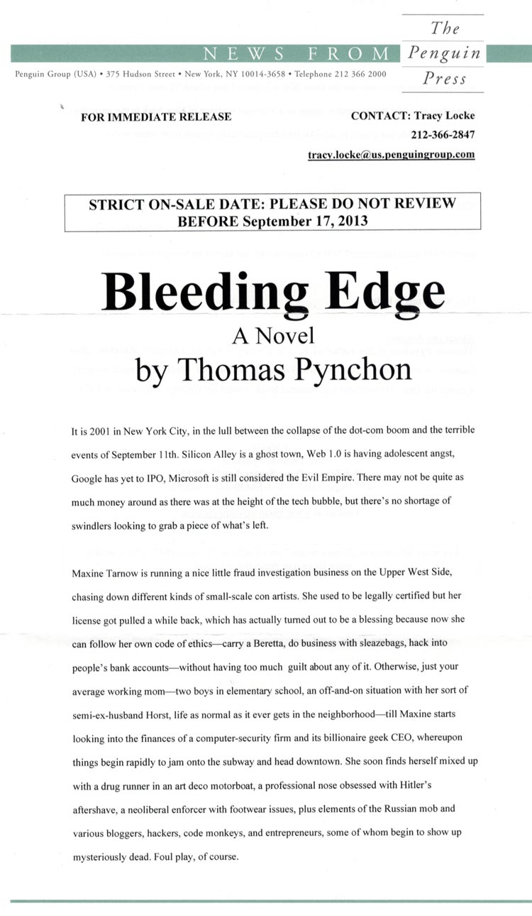 A guide to collecting the works of thomas pynchon thomas pynchon bleeding edge release fandeluxe Image collections